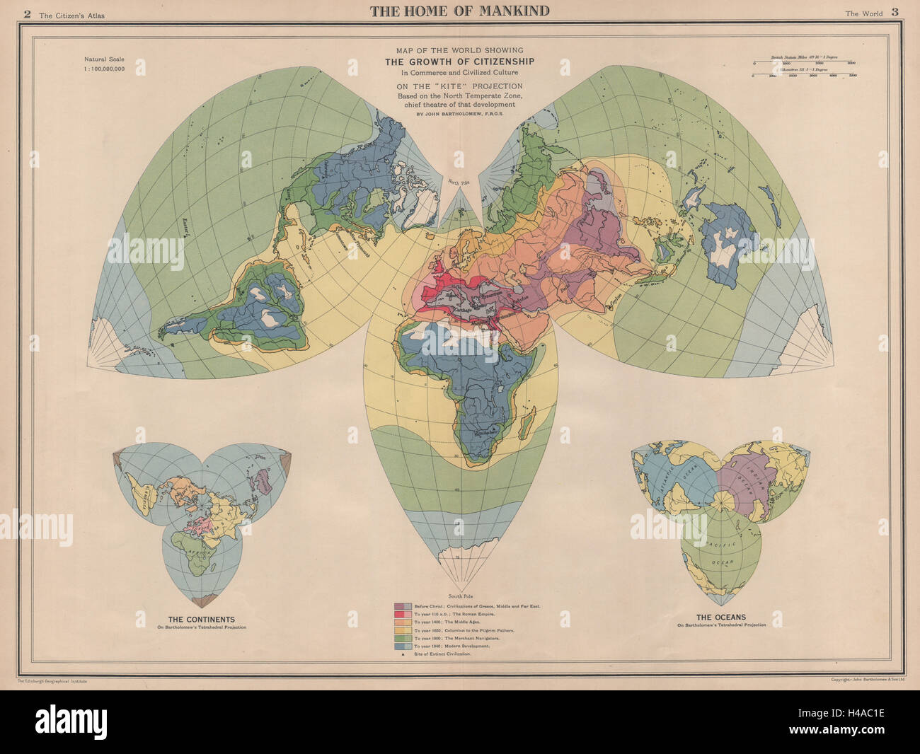 Spread of civilisation from antiquity to 1940. World on Kite Projection 1944 map - Stock Image