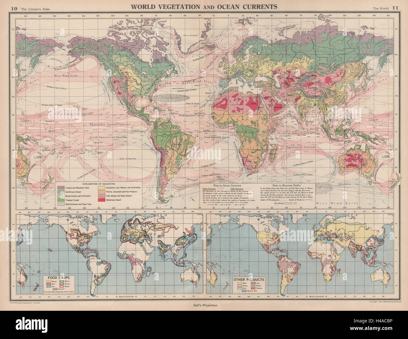 WORLD. Vegetation. Ocean Currents. Food crops. Agricultural commodities 1944 map - Stock Image