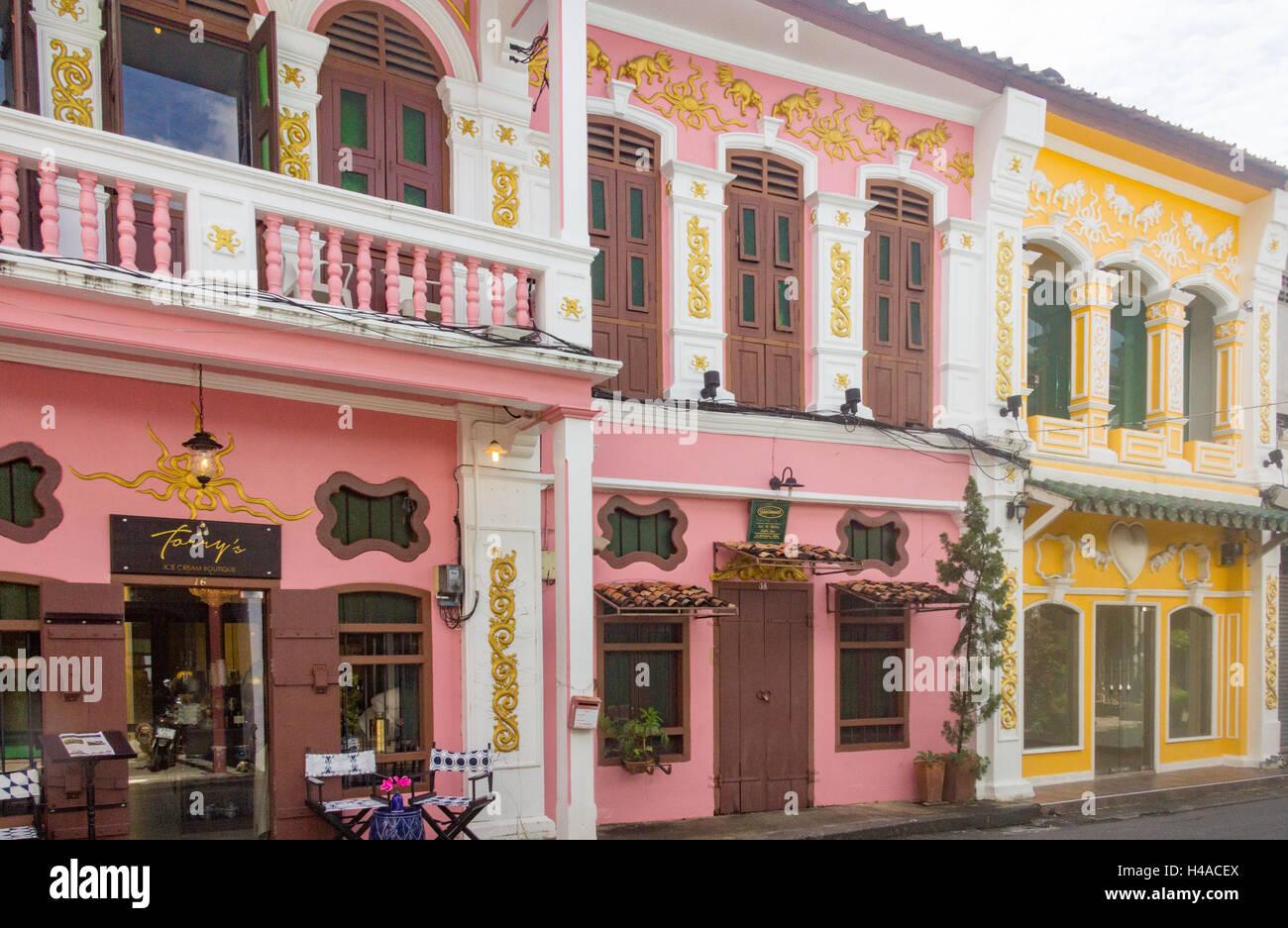 Restored Sino portuguese architecture on Soi Romanee in old Phuket Town, Thailand Stock Photo