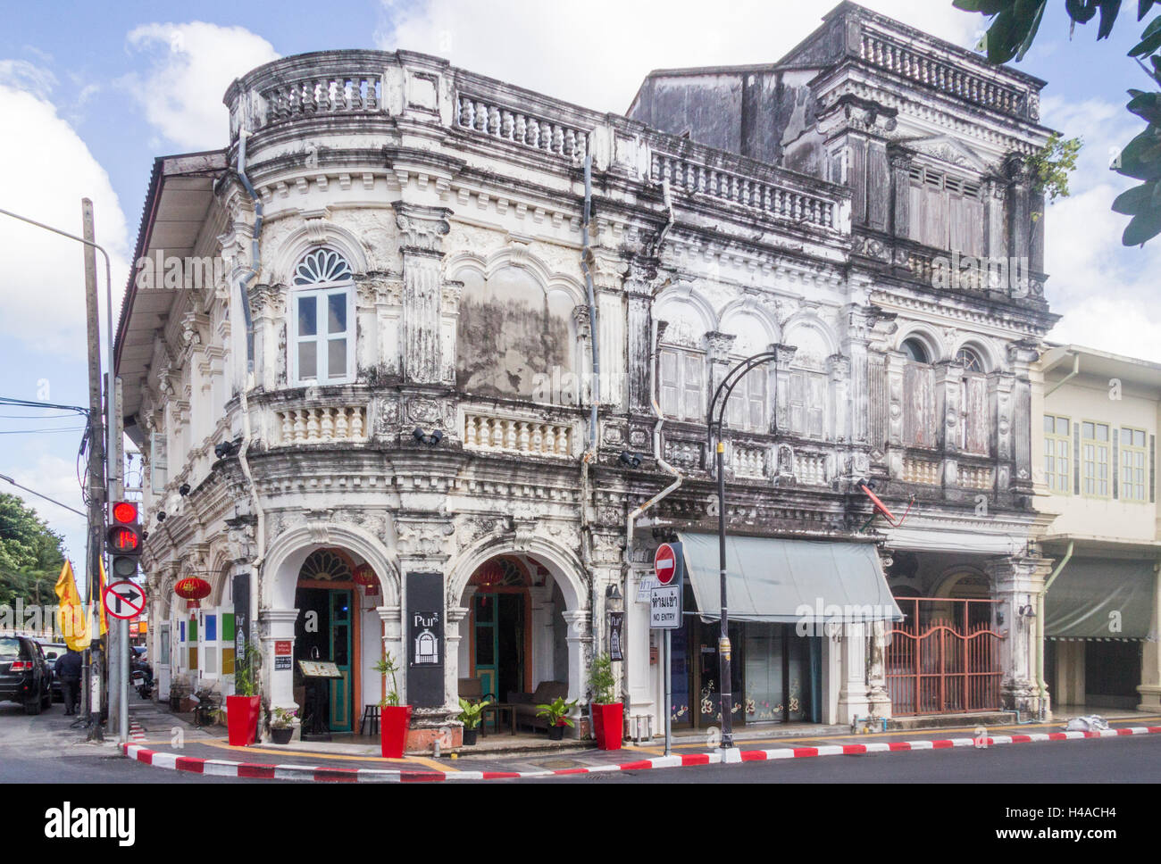 Sino portuguese archiecture building on the corner of Dibuk road and Yaowarat road in old Phuket Town, Thailand - Stock Image
