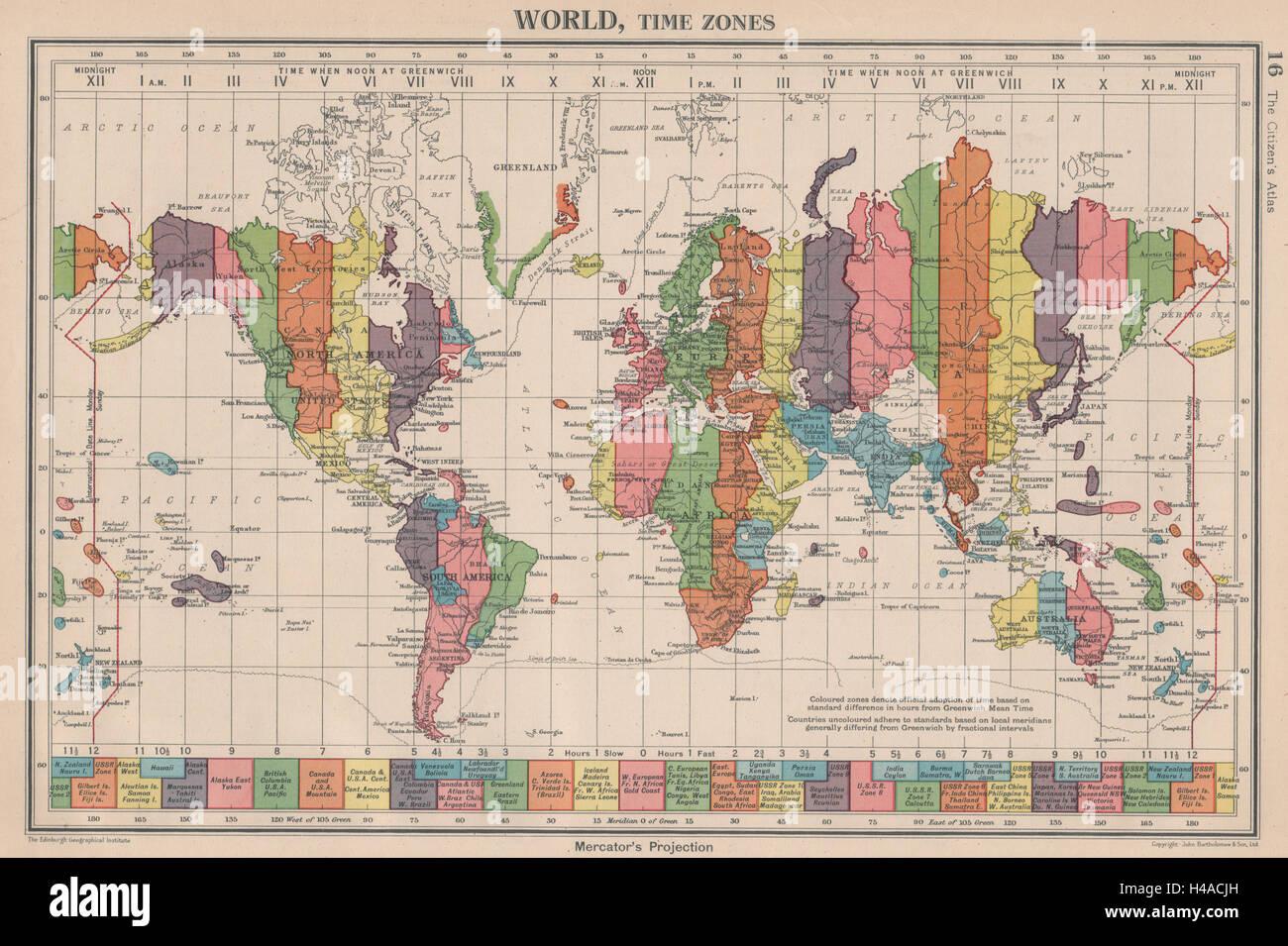 Map Of Ireland Time Zones.World Time Zones Uk Ireland Spain France On Same Zone Stock
