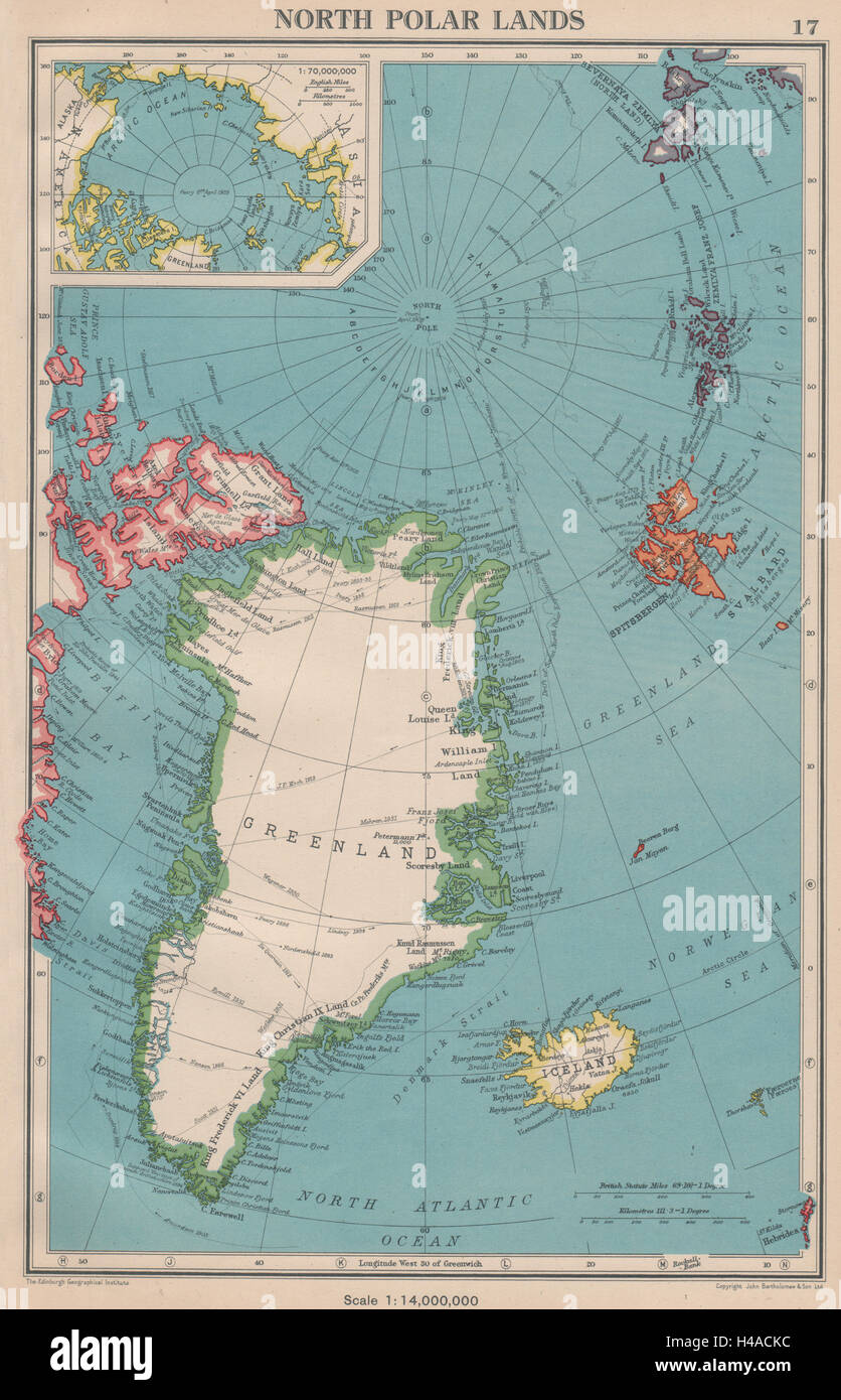 Arctic north polar lands greenland iceland explorers routes 1944 greenland iceland explorers routes 1944 old map gumiabroncs Gallery
