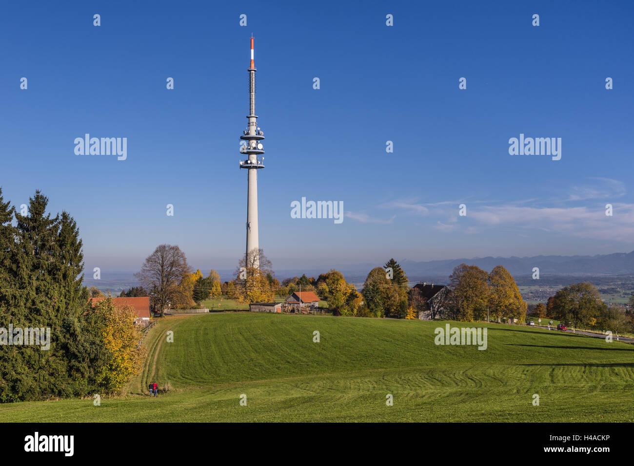 Germany, Bavaria, Upper Bavaria, priest's angle, mountain Hohenpeissen, mast in the high mountain Peissen, - Stock Image