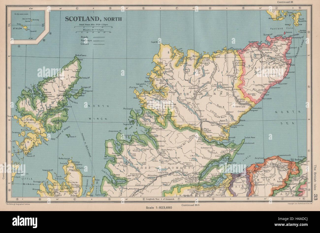 Scotland North SCOTTISH HIGHLANDS BARTHOLOMEW 1944 old vintage map chart