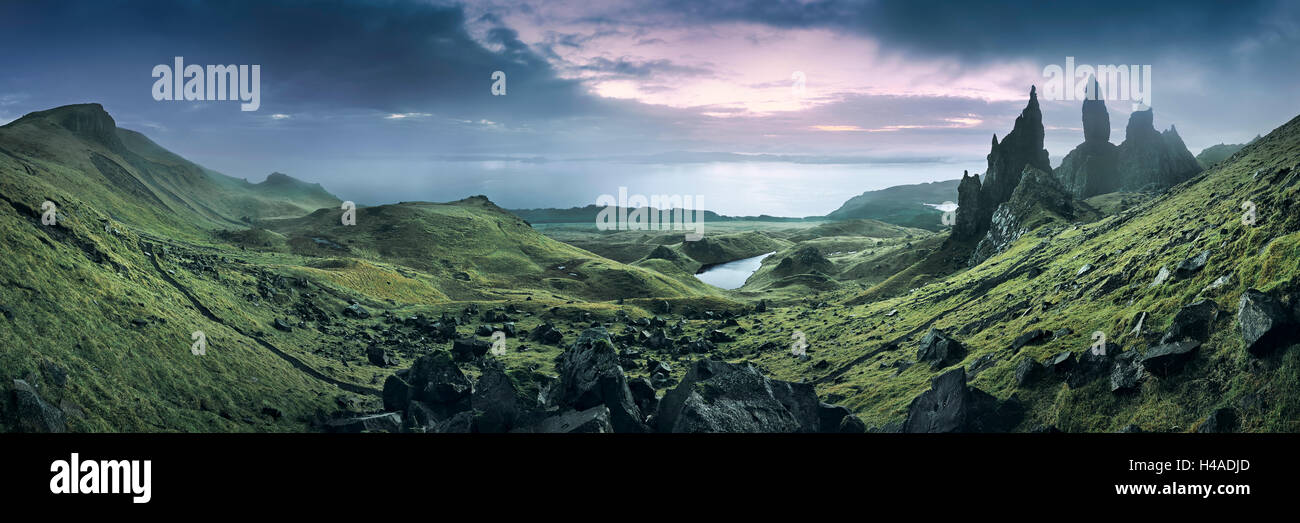 Scotland, Isle of Skye, Inner Hebrides, the Old Man of Storr, rock needle, sundown, - Stock Image