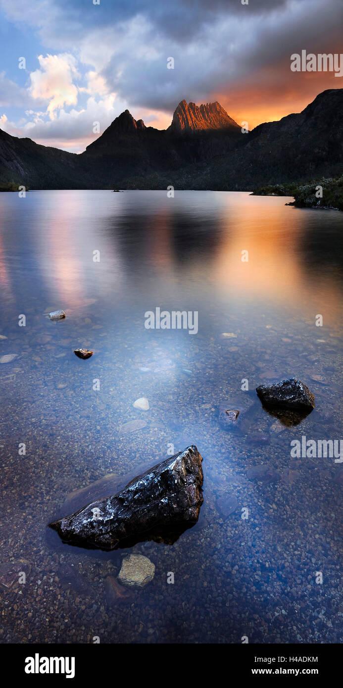 Australia, Tasmania, Dove Lake, Cradle Mountain-Lake St Clair National Park, - Stock Image