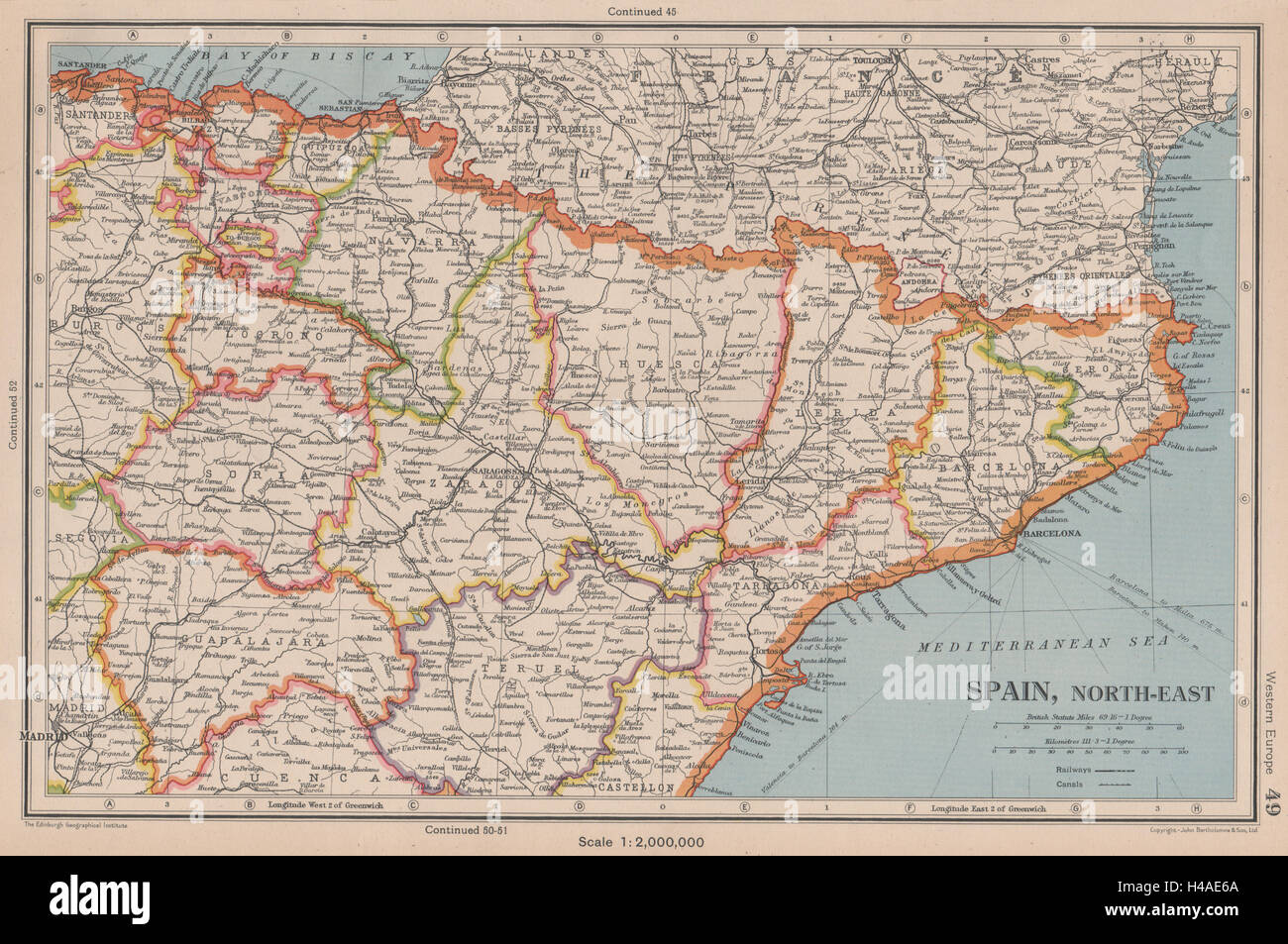 Map Of Spain Showing Catalonia.Spain North East Catalonia Catalunya Aragon Navarra Basque