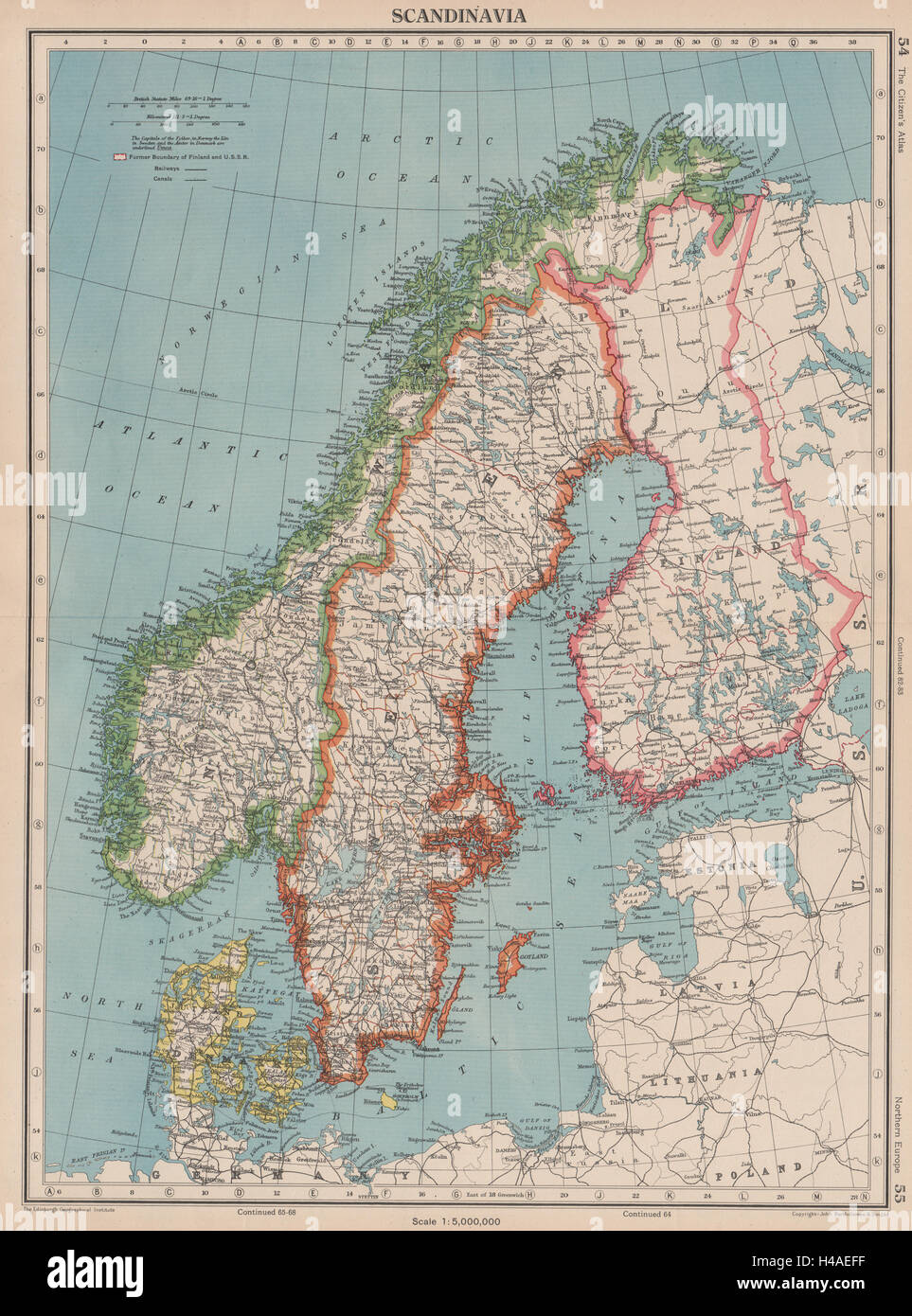 Scandinavia sweden norway denmark finland shows 1940 borders sweden norway denmark finland shows 1940 borders 1944 map gumiabroncs Images