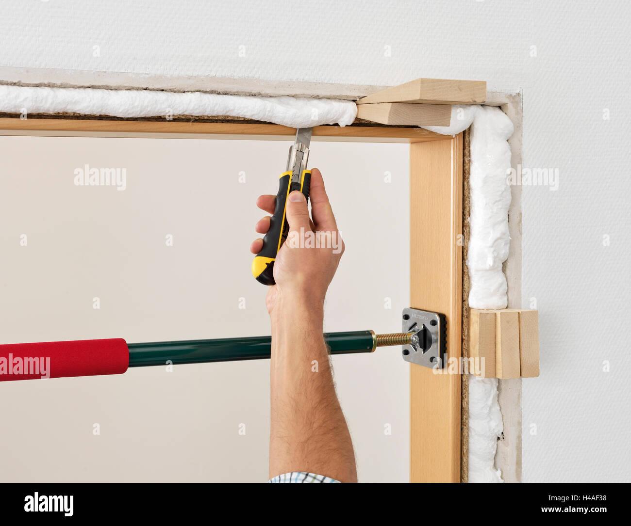 Door frame, installation, instructions, step 6, man, detail Stock ...
