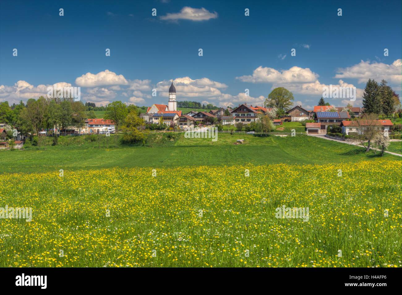 view over spring meadows to Oberhausen near Huglfing village, Upper Bavaria, Bavaria, Germany - Stock Image