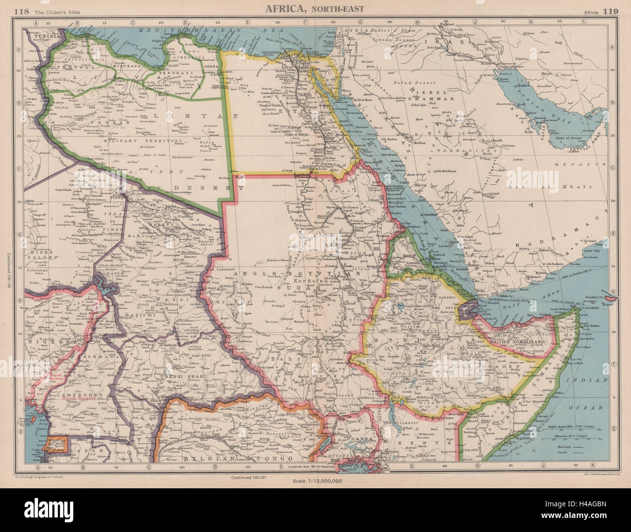 NORTH EAST AFRICA Libya Egypt Sudan Ethiopia Chad BARTHOLOMEW 1944