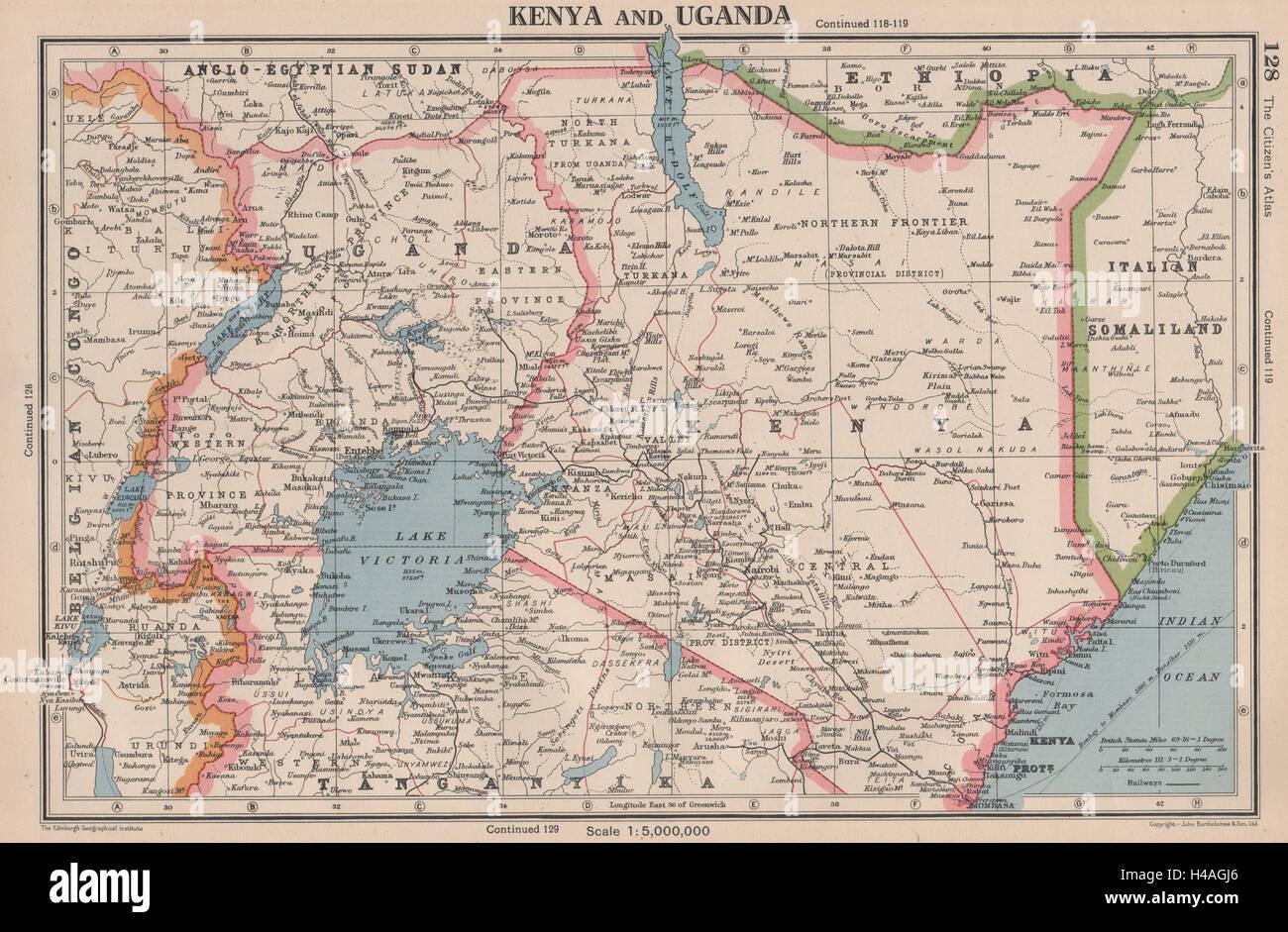 East Africa Kenya And Uganda Lake Victoria Bartholomew 1944 Old