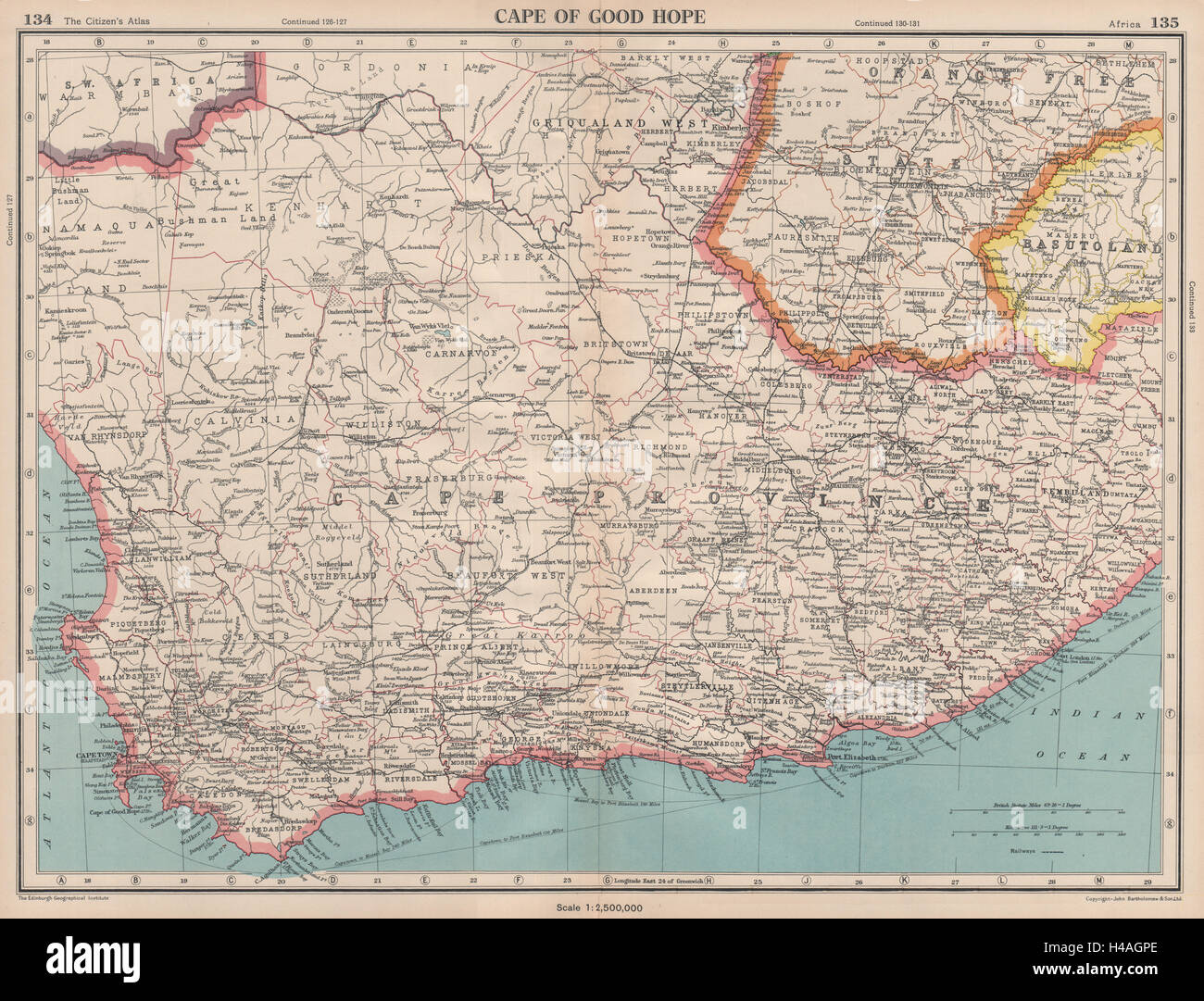 cape province south africa map Cape Of Good Hope Cape Province South Africa Bartholomew 1944 Old Stock Photo Alamy cape province south africa map
