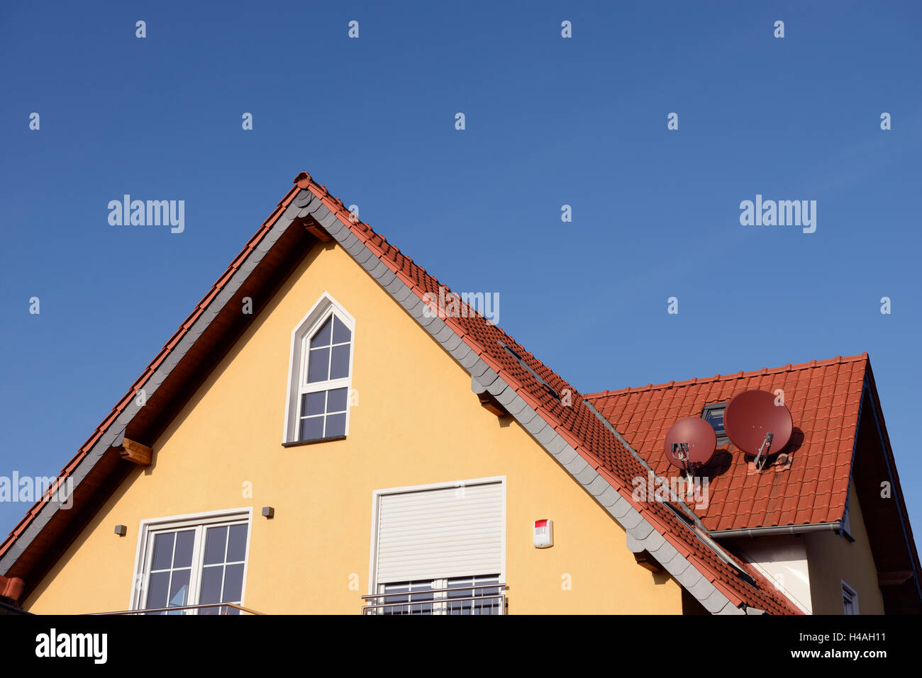 Gable of a common single-family house, Germany, North Rhine-Westphalia, Dormagen - Stock Image