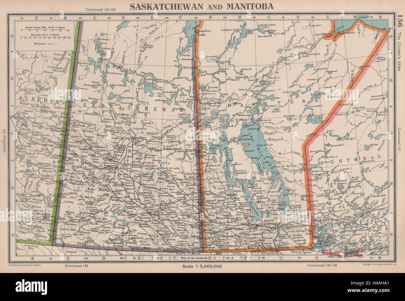 Saskatchewan manitoba provinces canada railways bartholomew saskatchewan manitoba provinces canada railways bartholomew 1944 old map gumiabroncs Choice Image