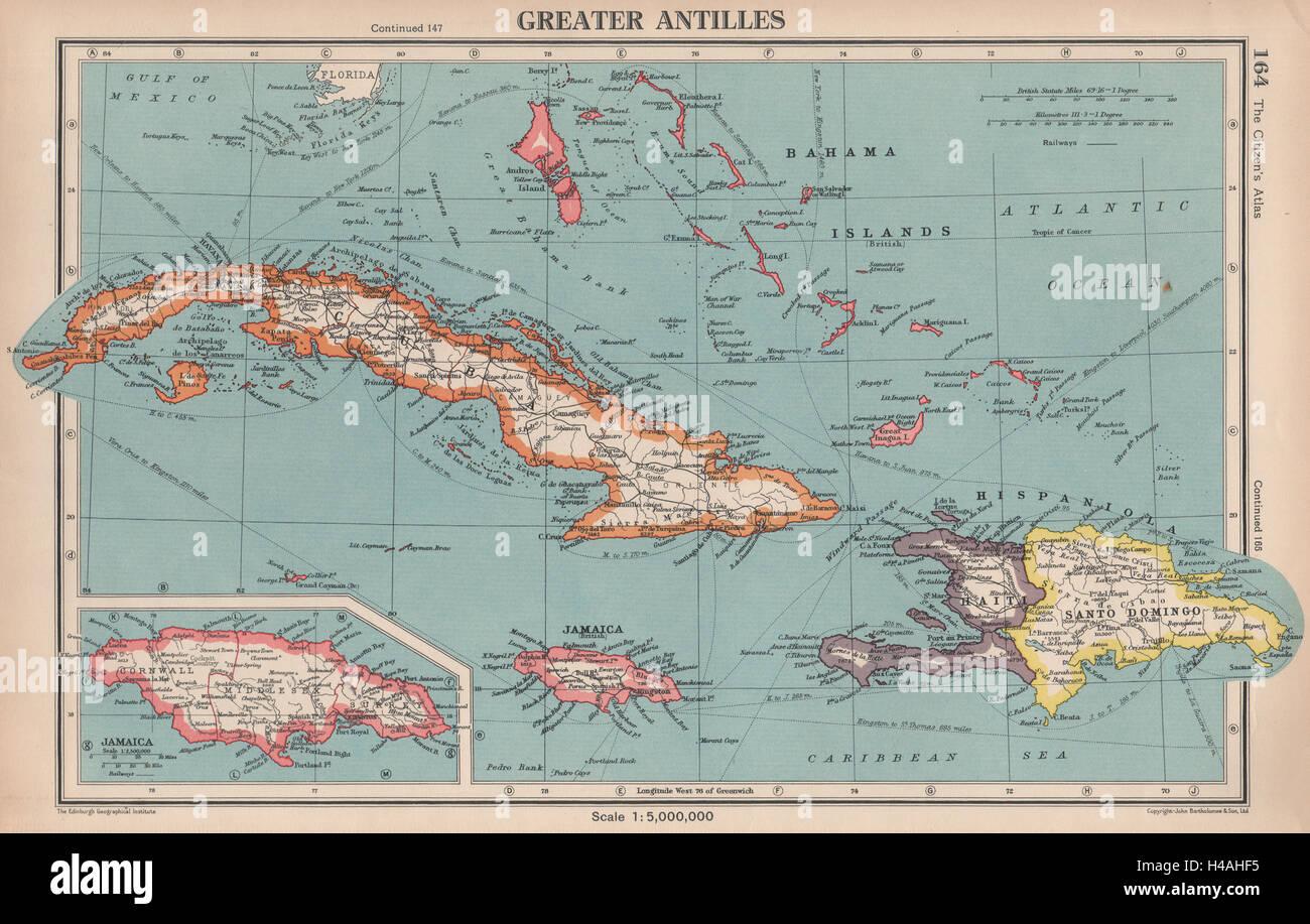 Greater antilles cuba hispaniola jamaica bahamas haiti dominican cuba hispaniola jamaica bahamas haiti dominican rep 1944 map gumiabroncs Gallery