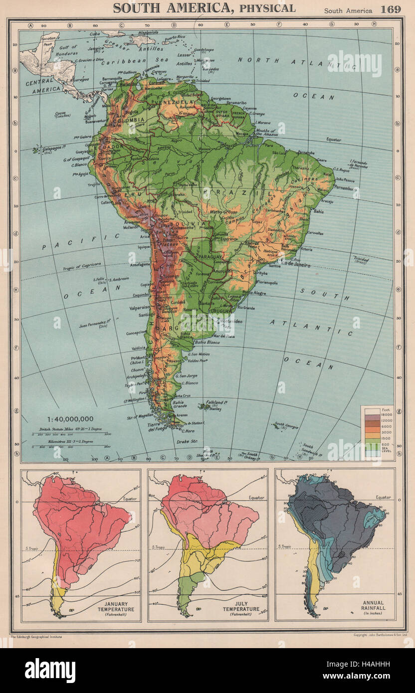 SOUTH AMERICA. Physical Temperature & Rainfall. BARTHOLOMEW 1944 old on south america continent map, south america seismicity map, south america climate map, south america physical map, south america drought map, south america wind map, south america topographic map, south america time zone map, south america vegetation map, south korea temperature map, south america interactive map, south america rainfall map, pampas grasslands south america map, north america temperature map, south america elevation map, south america color map, south american weather forecast, central america climate zone map, south america water map, south america animals,