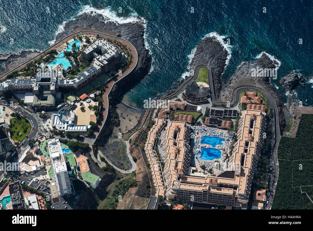Tenerife, Playa Paraiso, El Roque, Punta Negra, aerial picture, beach, the Atlantic, sea, promenade, hotels, hotel - Stock Image
