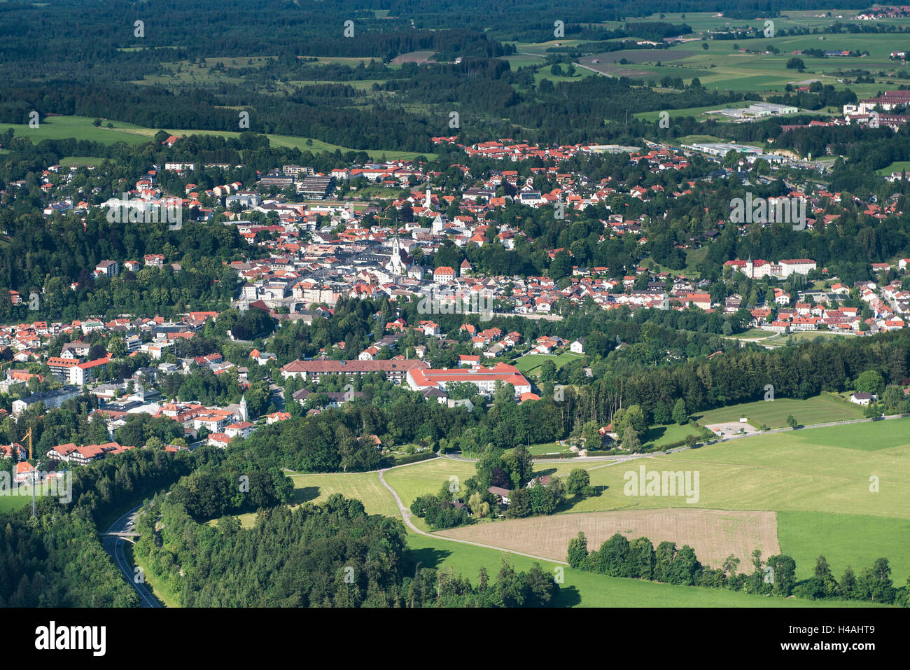 Bad Tölz, town centre, uplands, Bavaria, Germany, aerial picture, holiday region, tourist location - Stock Image