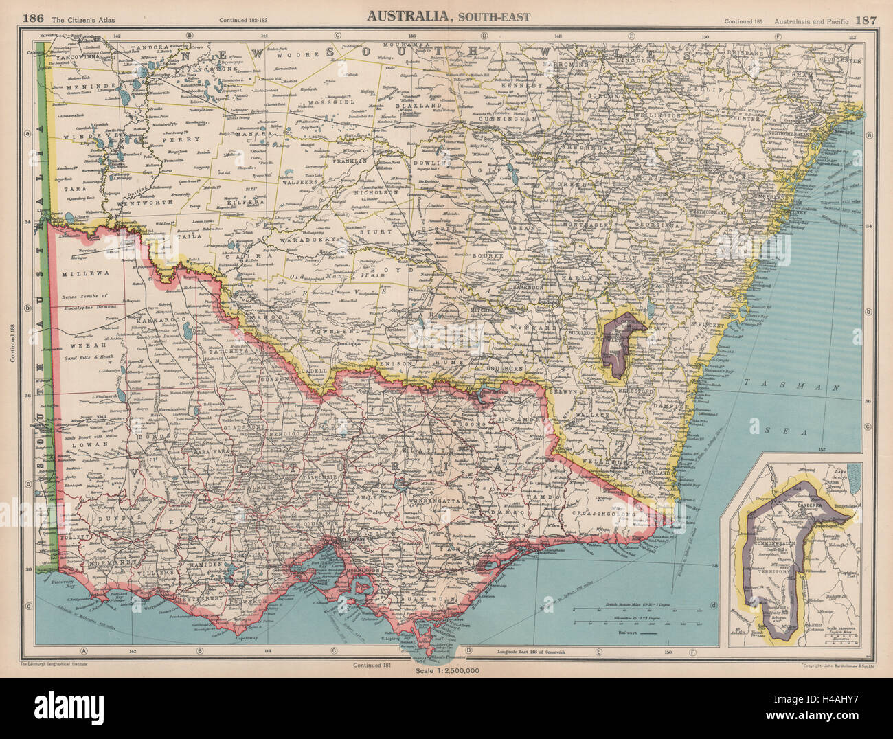 south east australia victoria nsw federal capital territory jervis bay 1944 map