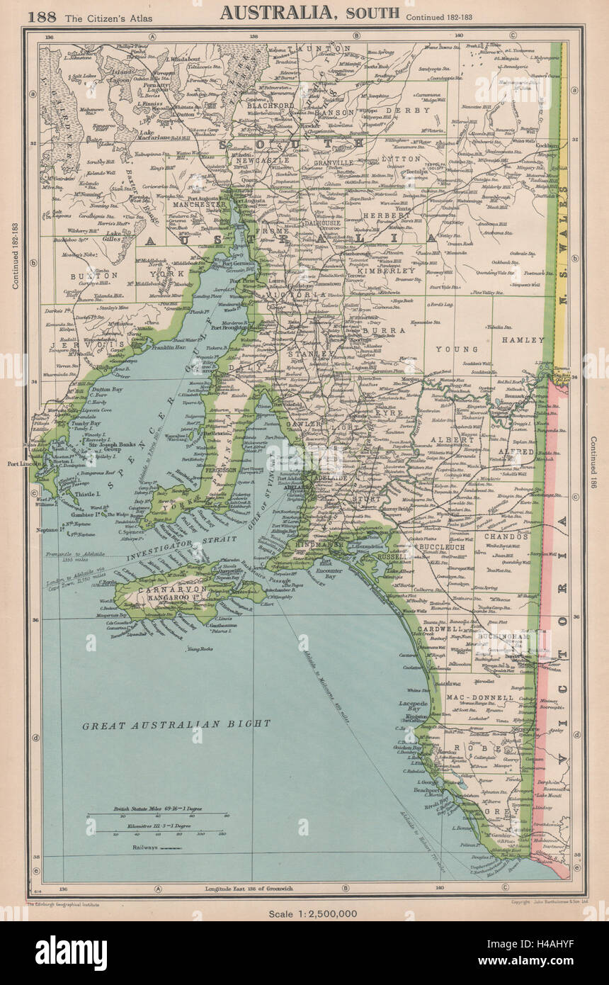 SOUTH AUSTRALIA shows counties Spencer Gulf of St Vincent Stock ...
