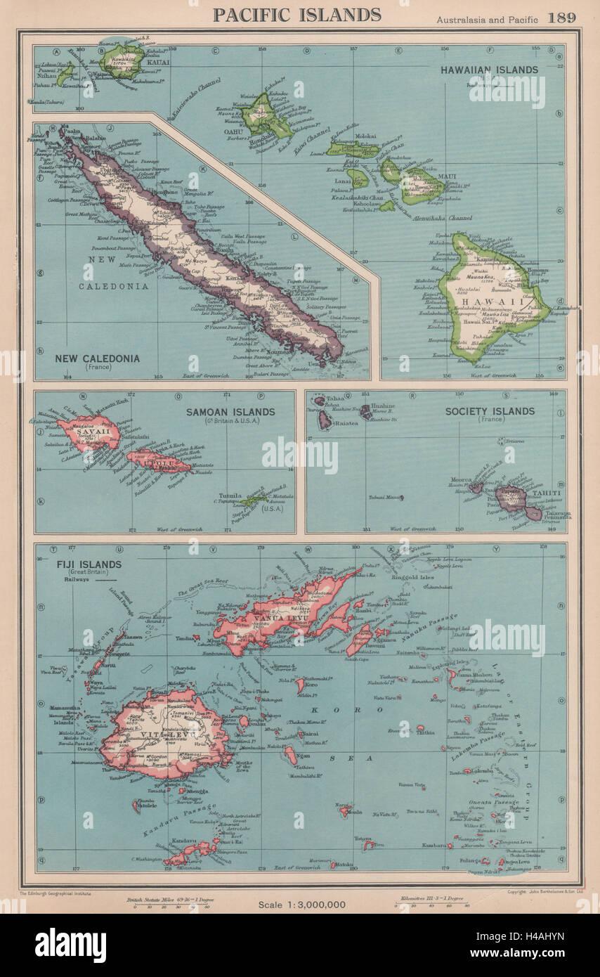 Pacific islands hawaii samoa fiji new caledonia society islands hawaii samoa fiji new caledonia society islands 1944 old map gumiabroncs Choice Image
