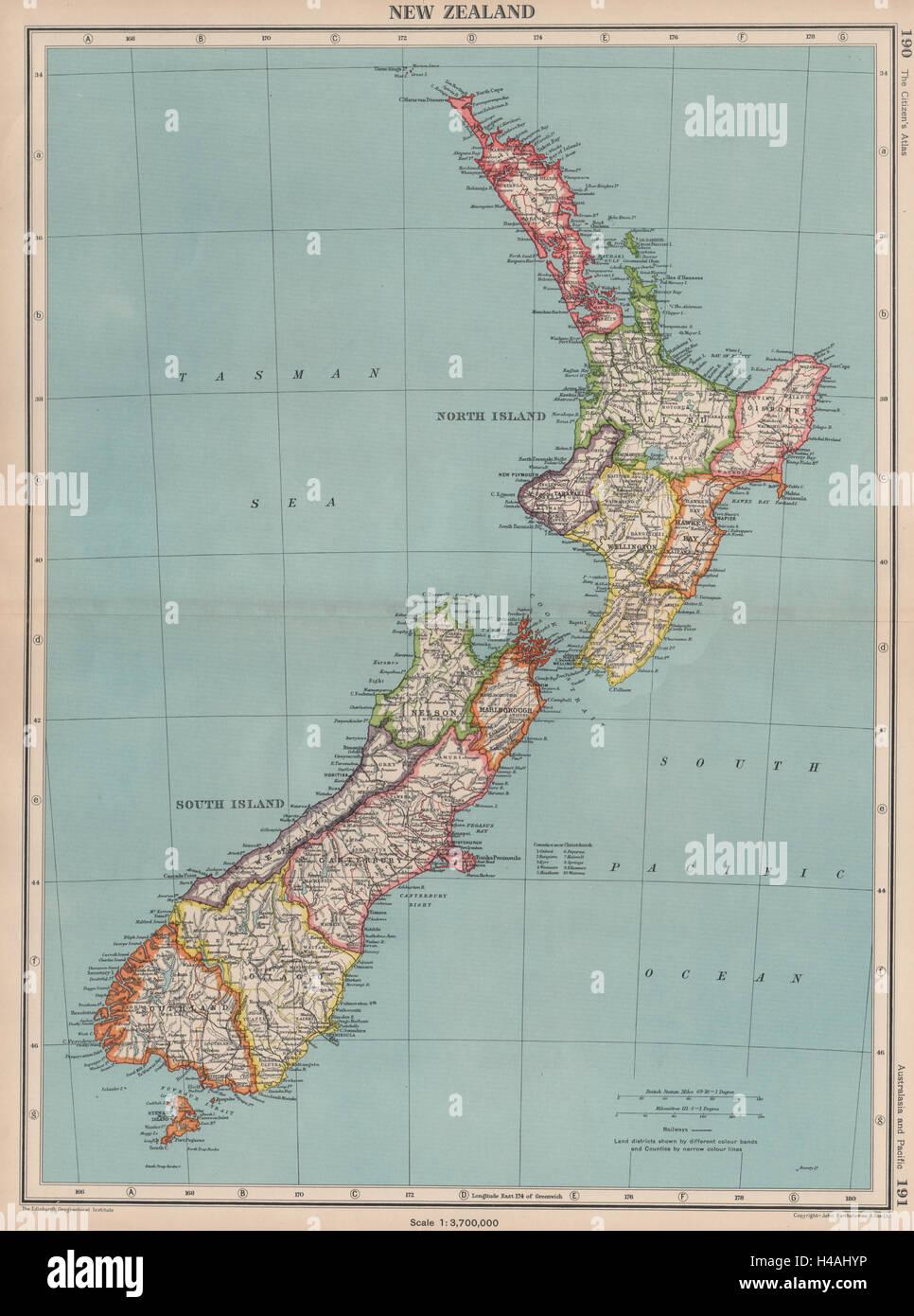 New Zealand Provinces Map.New Zealand Showing Provinces Bartholomew 1944 Old Vintage Map