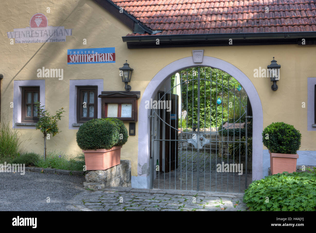 Theatre Sommerhaus in Sommerhausen at the Main, Lower Franconia, Bavaria, Germany, Europe - Stock Image