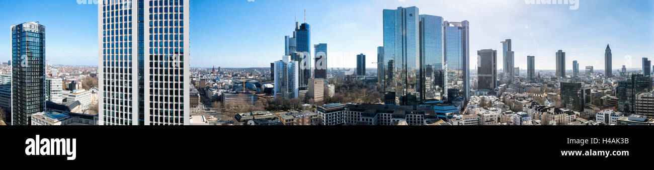 Frankfurt, Hesse, Germany, 180 degree panorama of the Frankfurt city centre and the Westend - Stock Image