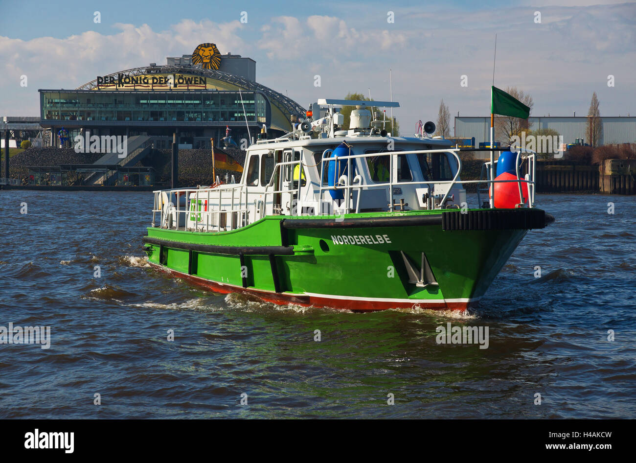 Customs boat 'Norderelbe' at Port of Hamburg, - Stock Image