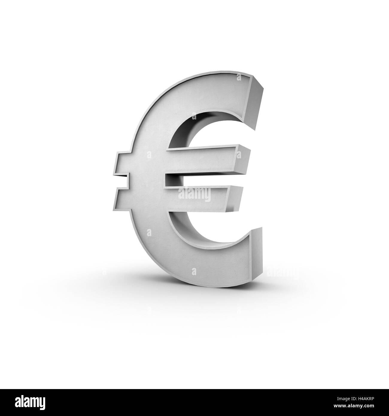 3D eurocharacter €, background white, - Stock Image