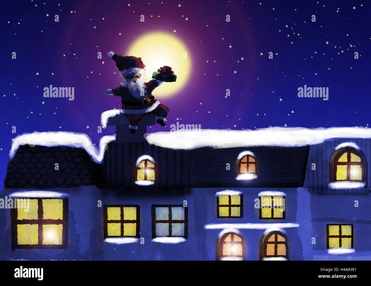 Illustration, houses, Santa, roof, sit, distribute present, evening, moon, subscription, painting, Christmas, for - Stock Image