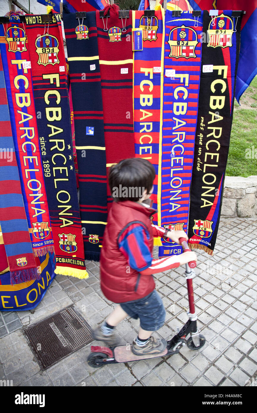 Small boy before football fan's articles, Barcelona, Spain, Europe, - Stock Image