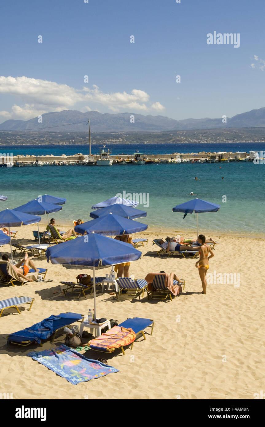 Greece, Crete, near Canea, Akrotiri peninsula, Marathi, sandy beach Marathi, - Stock Image