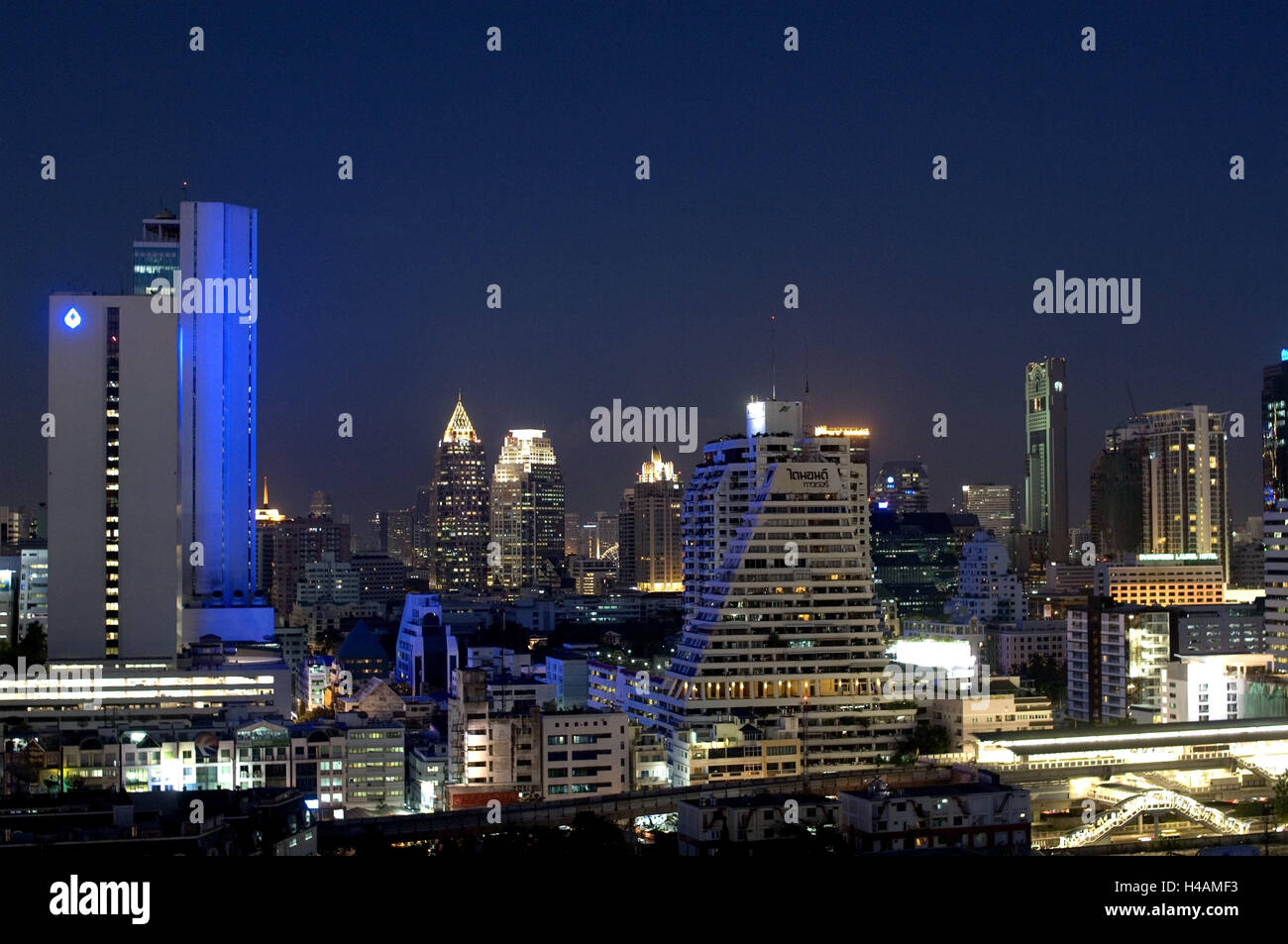 Thailand, Bangkok, part town Bangrak, Silom, town view, high rises, lighting, evening, Asia, South-East Asia, town, Stock Photo