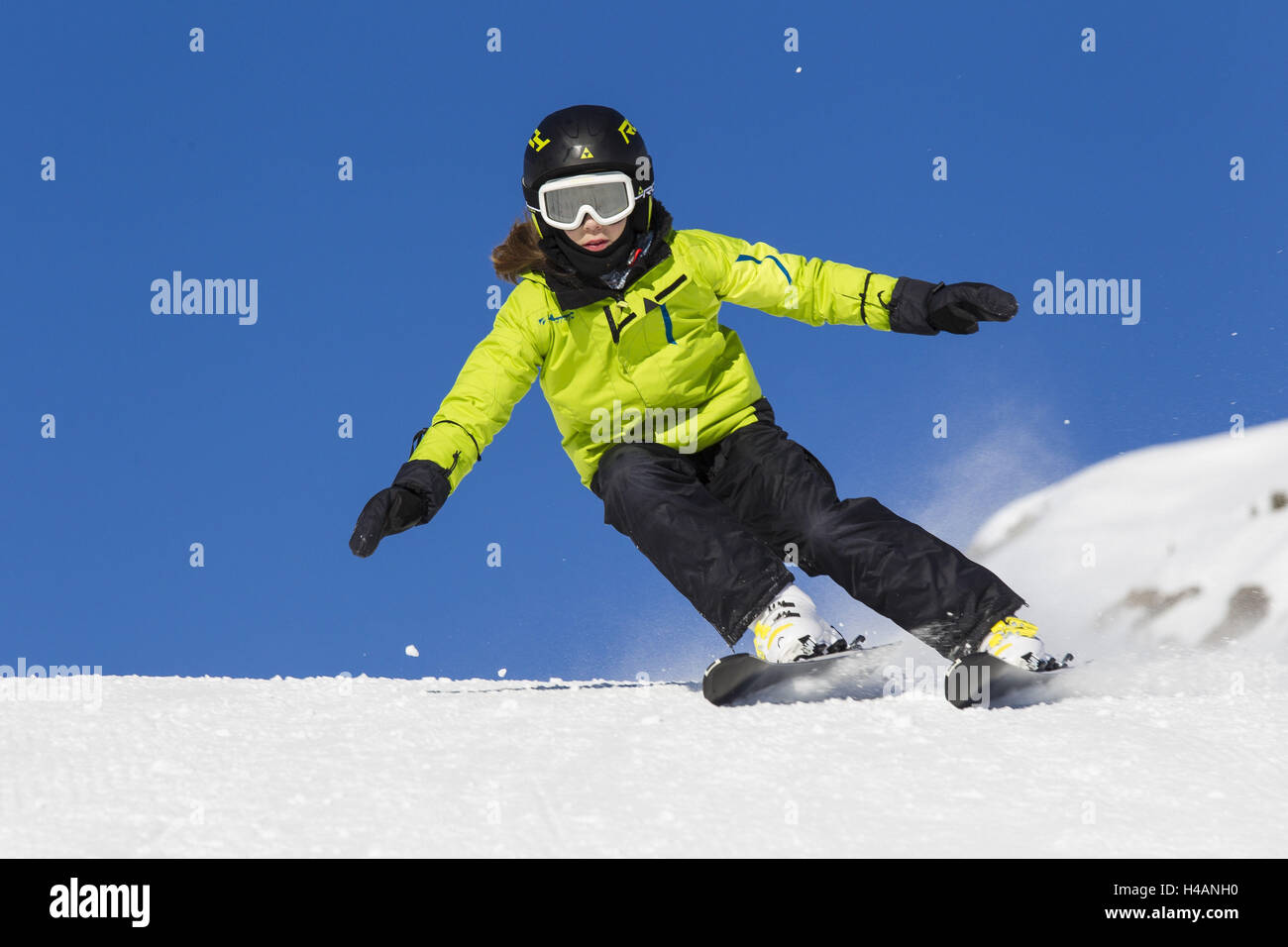 Child with the skiing without floors, runway, departure, Stock Photo