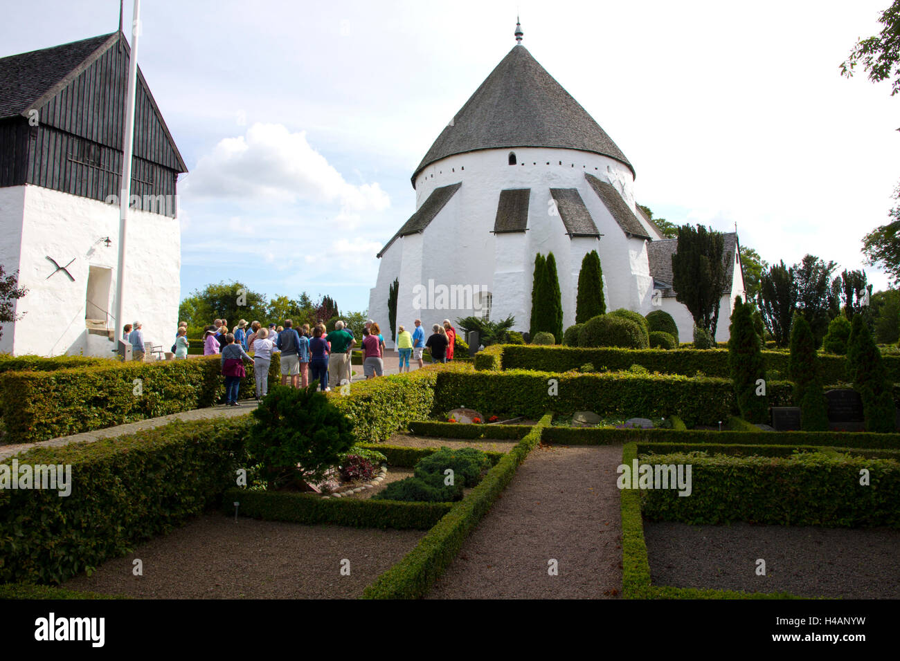 Osterlars Round Church dates back to 1150 and was used both as a place of worship and for protection against enemies. - Stock Image
