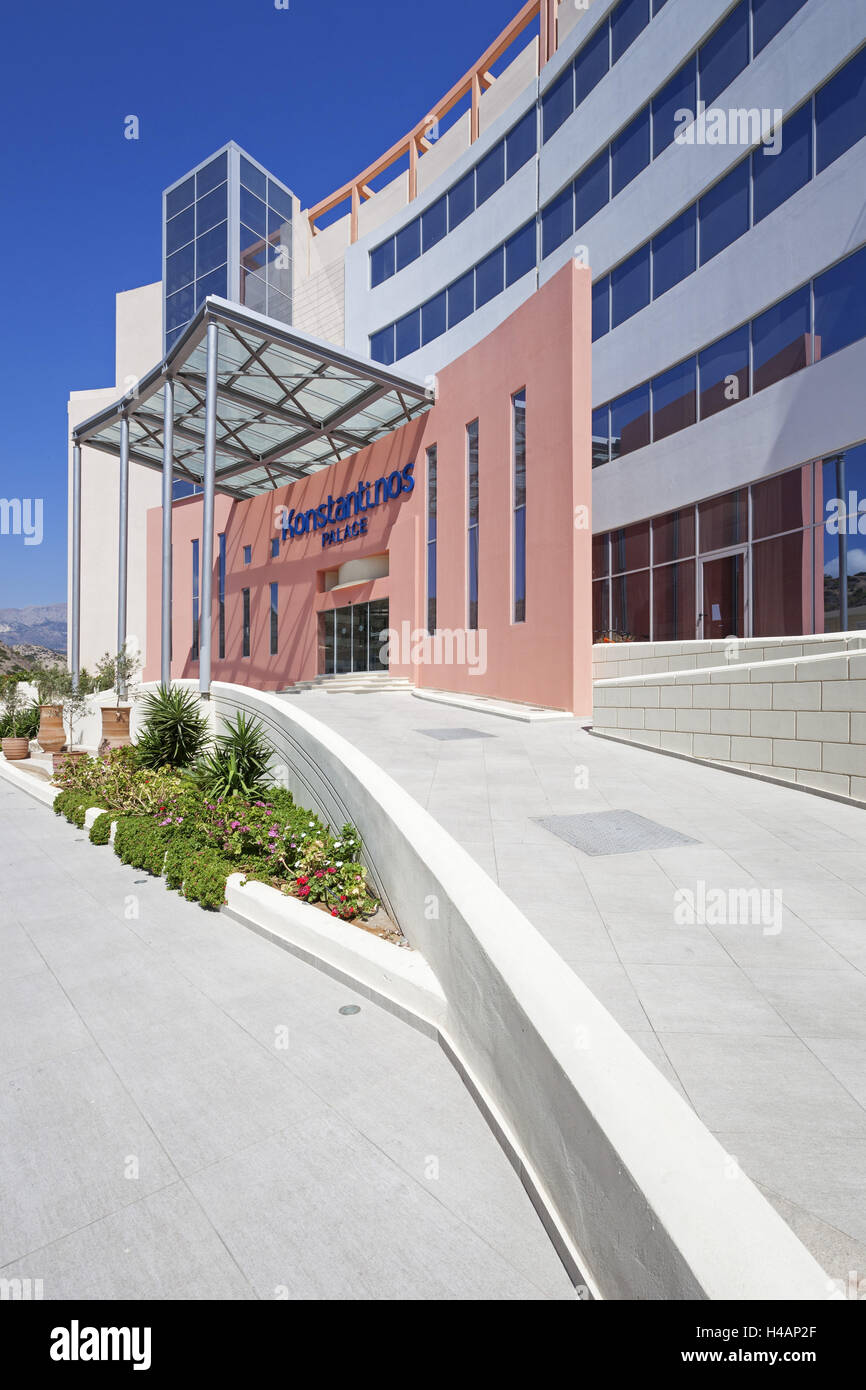 Greece, Karpathos, hotel Konstantinos Palace, entrance, Pigadia, - Stock Image