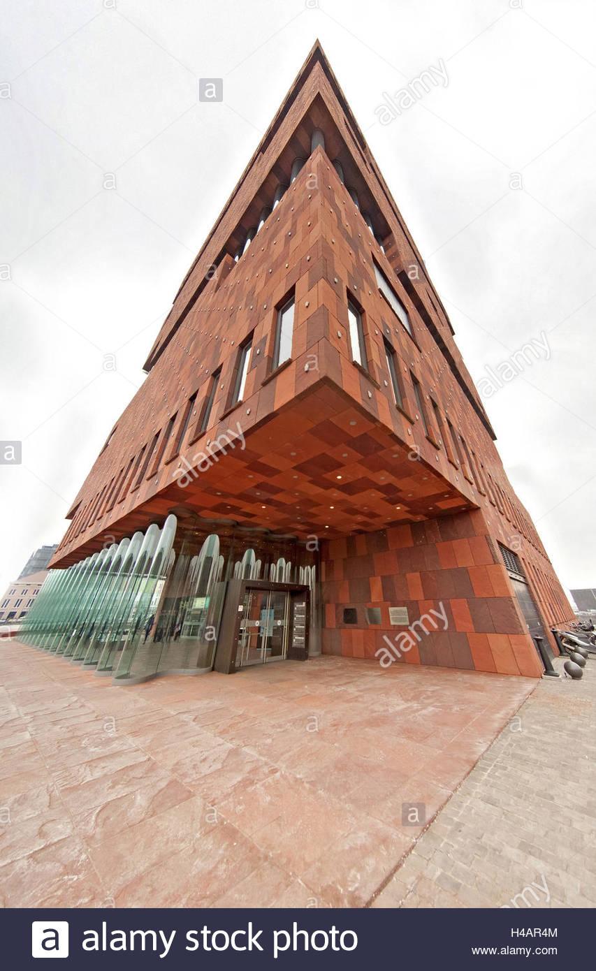 Museum aan de Stroom in Antwerp, natural stone facade, entrance, - Stock Image