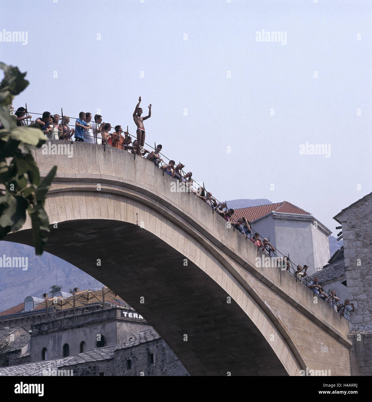 Bosnia-Herzegovina, Mostar, person on the old bridge 'Stari Most', - Stock Image