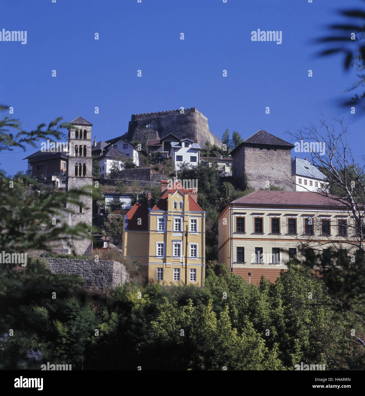 Bosnia-Herzegovina, Jajce, Old Town, castle hill, fortress, Lukas Tower, - Stock Image