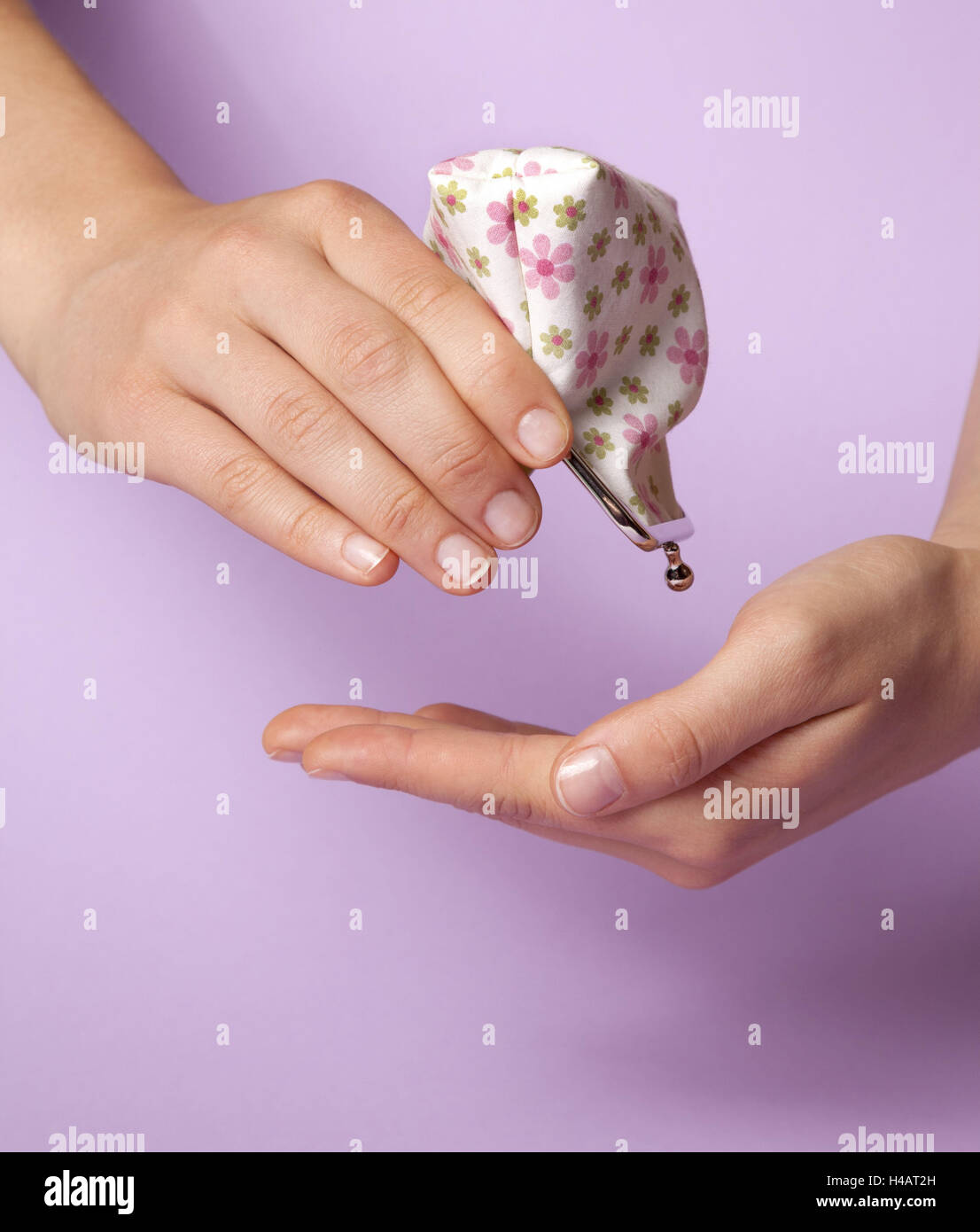 Hand, Purse, empty, bankruptcy, poverty, - Stock Image