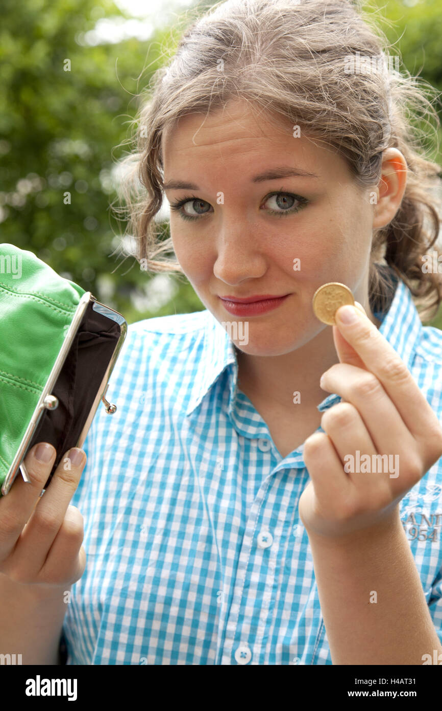 Woman, young, purse, empty, - Stock Image