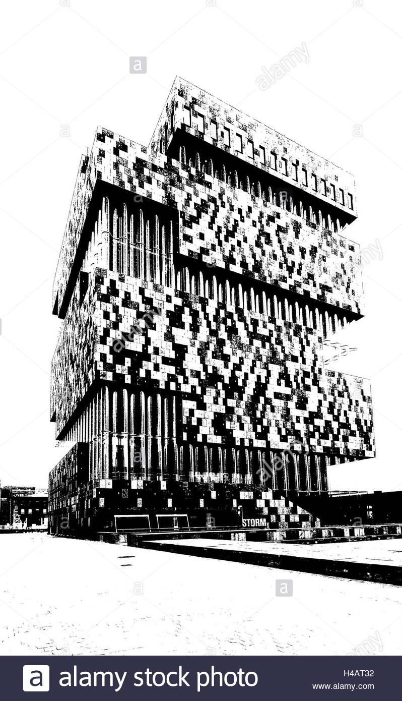 Museum aan de Stroom in Antwerp, altered, graphical, b/w, - Stock Image