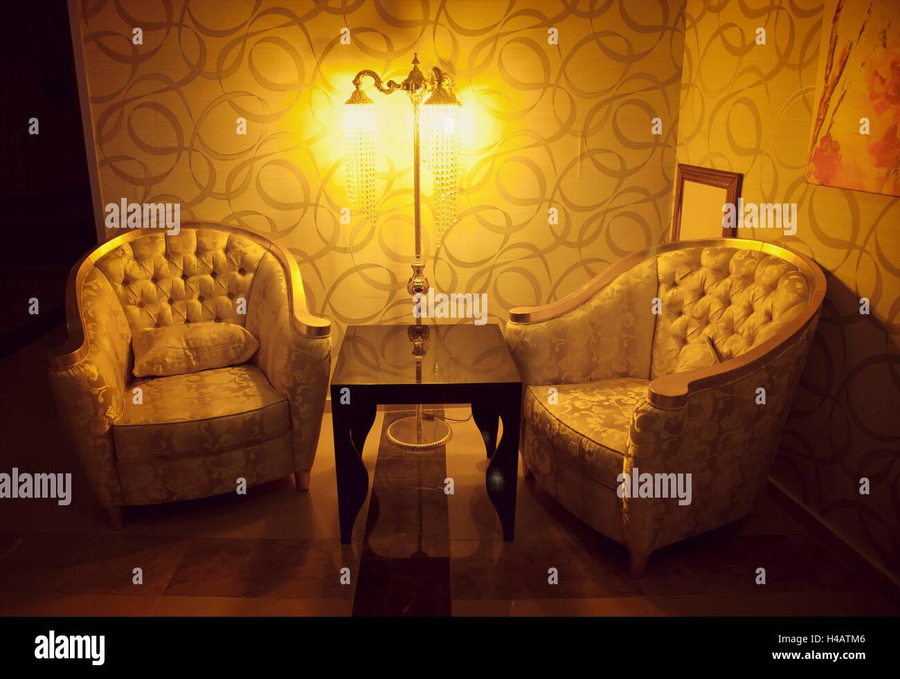 Turkey, Antalya, hotel, indoor photo, lamp, armchair - Stock Image