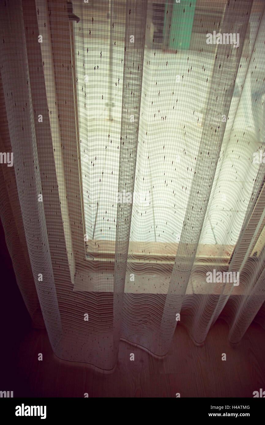 Turkey, hotel room, window, curtain - Stock Image