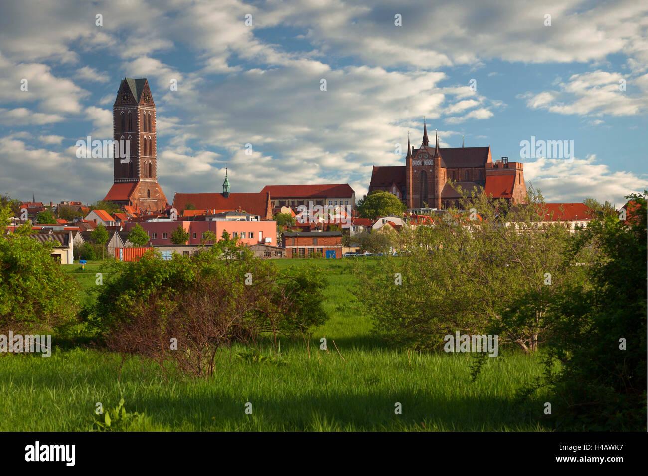 Germany, Mecklenburg-Western Pomerania, Wismar, St Mary's church, Nikolai church - Stock Image