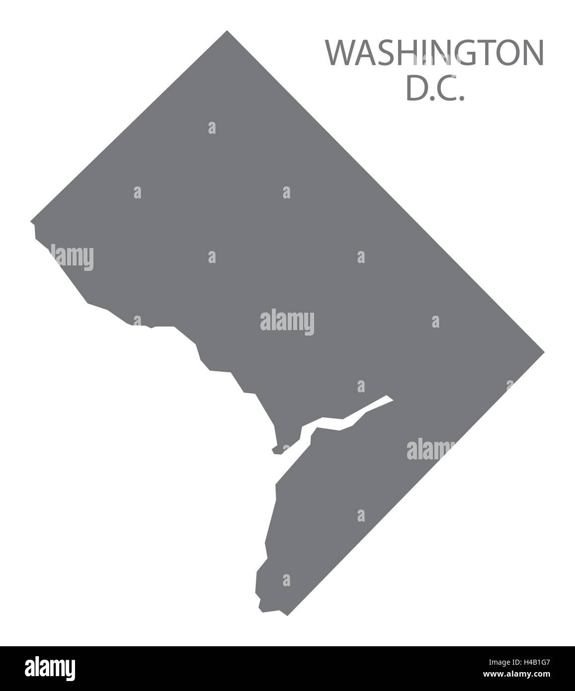 Washington DC USA Map in grey - Stock Vector