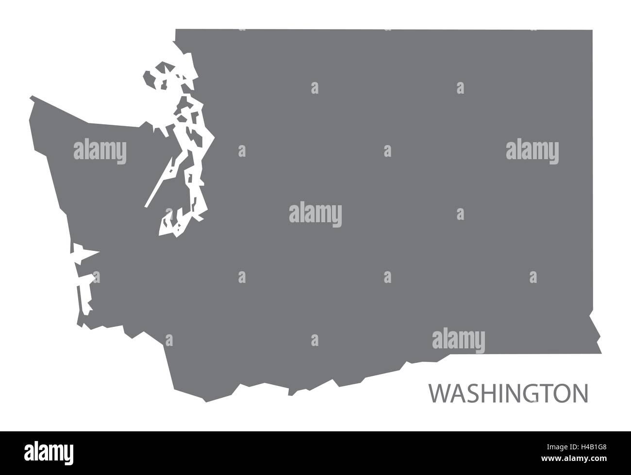 Washington USA Map in grey - Stock Vector