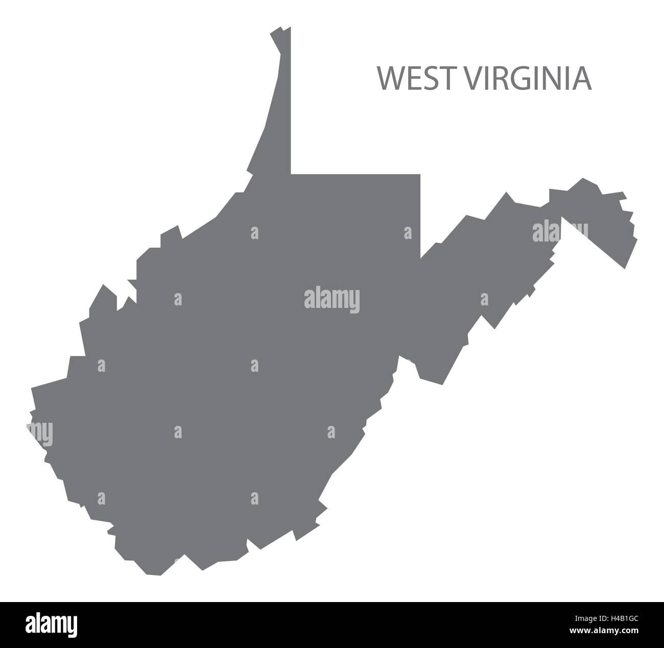 West Virginia USA Map in grey Stock Vector Art & Illustration ...